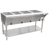 Advance Tabco HF-4-E Four Pan Electric Steam Table with Undershelf - Open Well