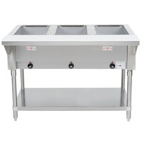 Advance Tabco HF-3-E Three Pan Electric Steam Table with Undershelf - Open Well