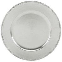 Tabletop Classics TRS-6629 13 inch Silver Round Acrylic Charger Plate with Beaded Rim