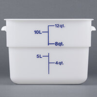 Cambro 12SFSP148 12 Qt. White Square Poly Food Storage Container with Midnight Blue-Colored Gradations