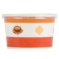 Choice 8 oz. Double-Wall Poly Paper Soup / Hot Food Cup with Plastic Lid - 25 / Pack