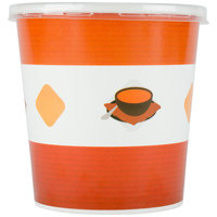 Choice 16 oz. Double-Wall Poly Paper Soup / Hot Food Cup with Plastic Lid - 25 / Pack