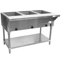 Advance Tabco SW-3E Three Pan Electric Hot Food Table with Undershelf - Sealed Well