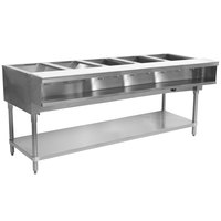 Advance Tabco WB-5G Five Pan Wetbath Gas Powered Hot Food Table with Undershelf - Sealed Well