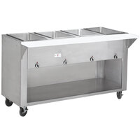 Advance Tabco SW-4E-BS Four Pan Electric Hot Food Table with Enclosed Base - Sealed Well