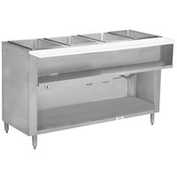 Advance Tabco WB-4G-BS Four Pan Wetbath Gas Powered Hot Food Table with Enclosed Undershelf - Sealed Well