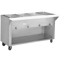 Advance Tabco HF-4G-BS Four Pan Gas Powered Hot Food Table with Enclosed Base - Open Well