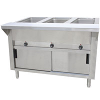 Advance Tabco HF-3E-DR Three Pan Electric Hot Food Table with Enclosed Base and Sliding Doors - Open Well, 120V