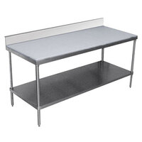 Advance Tabco SPS-245 Poly Top Work Table 24 inch x 60 inch with Undershelf and 6 inch Backsplash