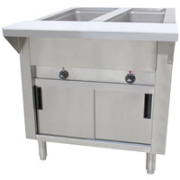 Advance Tabco SW-2E-DR Two Pan Electric Hot Food Table with Enclosed Base and Sliding Doors - Sealed Well, 208/240V