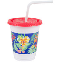 Dart Solo CC12C-J5145 12 - 14 oz. Jungle Print Plastic Kids Cup with Lid and Straw - 250 / Case