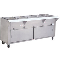 Advance Tabco SW-5E-DR Five Pan Electric Hot Food Table with Enclosed Base and Sliding Doors - Sealed Well