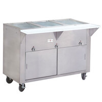 Advance Tabco SW-3E-DR Three Pan Electric Hot Food Table with Enclosed Base and Sliding Doors - Sealed Well