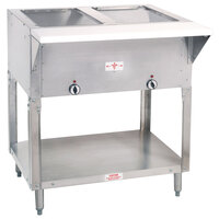 Advance Tabco SW-2E-DR Two Pan Electric Hot Food Table with Enclosed Base and Sliding Doors - Sealed Well