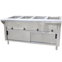 Advance Tabco HF-4E-DR Four Pan Electric Hot Food Table with Enclosed Base and Sliding Doors - Open Well