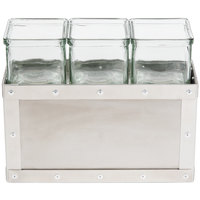Cal-Mil 3412-7-55 Urban 7 inch Stainless Steel Jar Display with 3 Glass Jars