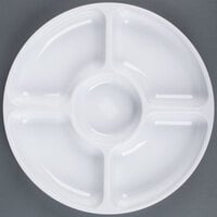 Fineline Platter Pleasers 3506-WH 12 inch 5 Compartment White Polystyrene Deli / Catering Tray