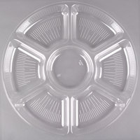 Fineline Platter Pleasers 3509-CL 18 inch 7 Compartment Clear Polystyrene Deli / Catering Tray