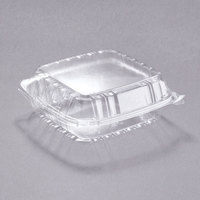 Dart C90PST1 8 5/16 inch x 8 5/16 inch x 3 inch ClearSeal Hinged Lid Plastic Container - 125/Pack
