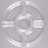 Fineline Platter Pleasers 3506-CL 12 inch 5 Compartment Clear Polystyrene Deli / Catering Tray