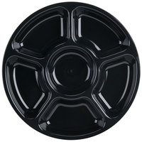 Fineline Platter Pleasers 3521-BK 12 inch 6 Compartment Black Polystyrene Deli / Catering Tray