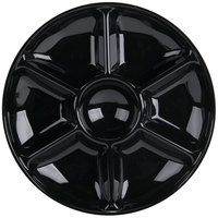 Fineline Platter Pleasers 3507-BK 14 inch 7 Compartment Black Polystyrene Deli / Catering Tray