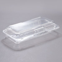 Dart C75UTD StayLock 12 1/2 inch x 6 3/8 inch x 2 3/8 inch Clear Hinged Plastic 12 inch Deep Base Strudel Container - 250/Case