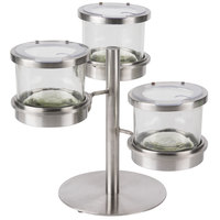 Cal Mil 1855-4-55HL Mixology Stainless Steel Tiered 3 Jar Display for 16 oz. Jars with Hinged Lids - 14 inch x 11 inch x 11 1/4 inch