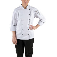 Chef Revival LJ044-XS Chef-Tex Size 2 (XS) Customizable Poly-Cotton Ladies Brigade Jacket with Black Piping