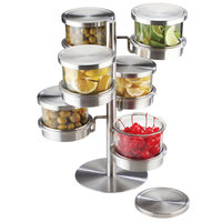 Cal-Mil 1858-5-55 Mixology Stainless Steel Tiered 6 Jar Rotating Display for 32 oz. Jars with Solid Lids - 16 inch x 12 inch x 11 1/4 inch