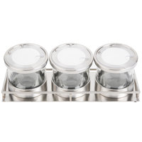 Cal-Mil 1850-5-55NL Mixology Stainless Steel 3 Jar Horizontal Display with 32 oz. Jars, Notched Lids, and Cooling Pucks - 16 1/2 inch x 6 inch x 6 3/4 inch