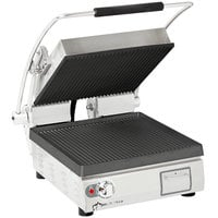 Star PGT14I Pro-Max® 2.0 Single 14 inch Panini Grill with Grooved Cast Iron Plates - Dial Controls