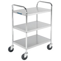 Lakeside 479 Medium-Duty Stainless Steel Three Shelf Tubular Utility Cart with Chrome-Plated Legs / Frame - 27 inch x 17 1/2 inch x 35 inch