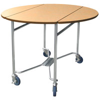 Lakeside 412 Mobile Round Top Room Service Table with Hard Rock Maple Finish - 40 inch x 40 inch x 30 inch