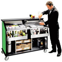 Lakeside 889 63 1/2 inch Stainless Steel Portable Bar with Green Laminate Finish, 2 Removable 7-Bottle Speed Rails, and 70 lb. Ice Bin