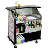 Lakeside 884 43 inch Stainless Steel Portable Bar with Gray Sand Laminate Finish, Removable 7-Bottle Speed Rail, and 40 lb. Ice Bin