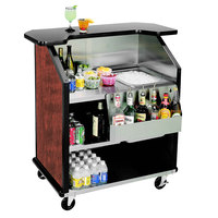Lakeside 884 43 inch Stainless Steel Portable Bar with Red Maple Laminate Finish, Removable 7-Bottle Speed Rail, and 40 lb. Ice Bin