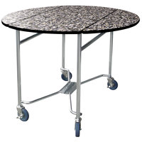Lakeside 412 Mobile Round Top Room Service Table with Gray Sand Finish - 40 inch x 40 inch x 30 inch