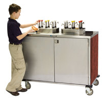 Lakeside 70210 Stainless Steel EZ Serve 6 Pump Condiment Cart with Red Maple Finish - 27 1/2 inch x 50 1/4 inch x 47 inch