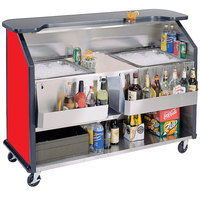 Lakeside 886 63 1/2 inch Stainless Steel Portable Bar with Red Laminate Finish, 2 Removable 7-Bottle Speed Rails, and 2 40 lb. Ice Bins