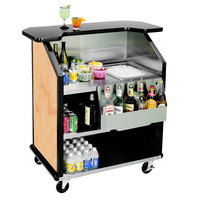 Lakeside 884 43 inch Stainless Steel Portable Bar with Hard Rock Maple Laminate Finish, Removable 7-Bottle Speed Rail, and 40 lb. Ice Bin
