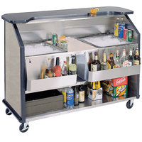 Lakeside 886 63 1/2 inch Stainless Steel Portable Bar with Beige Suede Laminate Finish, 2 Removable 7-Bottle Speed Rails, and 2 40 lb. Ice Bins