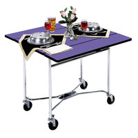Lakeside 413 Mobile Square Top Room Service Table with Purple Finish - 36 inch x 36 inch x 30 inch