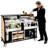 Lakeside 889 63 1/2 inch Stainless Steel Portable Bar with Hard Rock Maple Laminate Finish, 2 Removable 7-Bottle Speed Rails, and 70 lb. Ice Bin