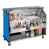 Lakeside 887 63 1/2 inch Stainless Steel Portable Bar with Royal Blue Laminate Finish, 2 Removable 7-Bottle Speed Rails, and 40 lb. Ice Bin
