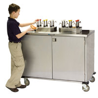 Lakeside 70220 Stainless Steel EZ Serve 4 Pump Condiment Cart with Beige Suede Finish - 27 1/2 inch x 33 inch x 47 inch
