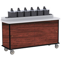 Lakeside 70430 Red Maple Condi-Express 6 Pump Condiment Cart with (2) Cup Dispensers