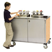 Lakeside 70220 Stainless Steel EZ Serve 4 Pump Condiment Cart with Hard Rock Maple Finish - 27 1/2 inch x 33 inch x 47 inch