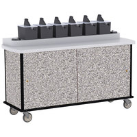 Lakeside 70530 Gray Sand Condi-Express 6 Pump Condiment Cart with (2) Cup Dispensers