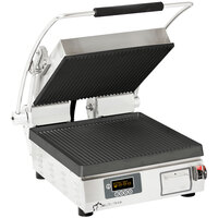 Star PGT14IT Pro-Max® 2.0 Single 14 inch Panini Grill with Grooved Cast Iron Plates - Electronic Timer